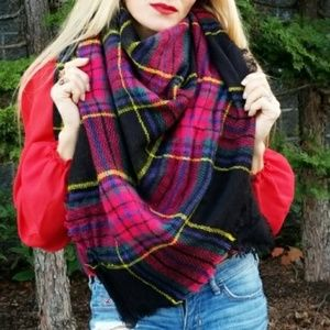 GIRLY DOLLZ Oversized Plaid Blanket Scarf - pink